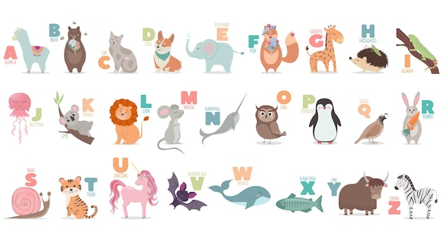 아이들 교육을위한 귀여운 만화 동물들과 함께하는 영어 알파벳
