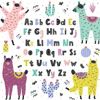 귀여운 라마와 영어 알파벳입니다. 대문자와 소문자로 재미있는 알파카를 가진 아이들을위한 교육 포스터. 스칸디나비아 스타일 배경입니다. 삽화