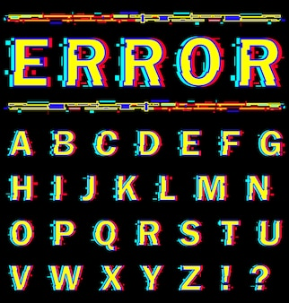 English alphabet with distortion effect