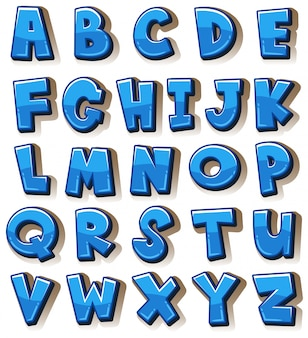 English alphabets in blue blocks