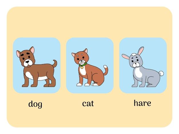 동물, 고양이, 개, 토끼가 있는 영어 카드. 벡터 일러스트 레이 션 프리미엄 벡터