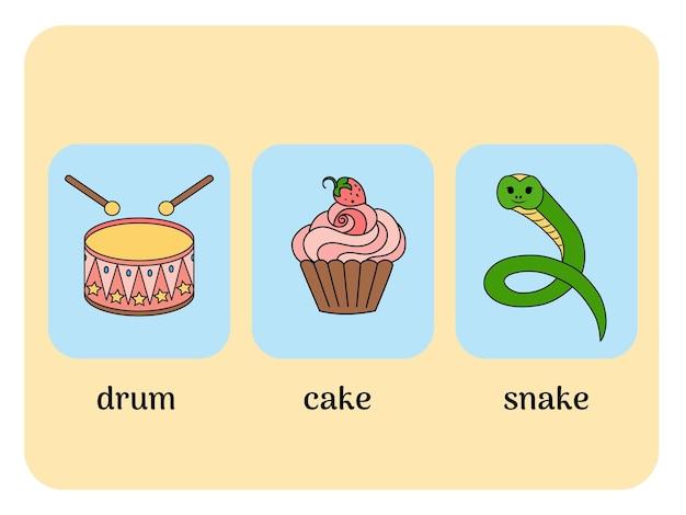 드럼, 케이크, 뱀이 있는 영어 카드. 벡터 일러스트 레이 션