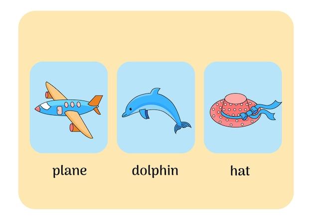 비행기, 돌고래, 모자가 있는 영어 카드. 벡터 일러스트 레이 션