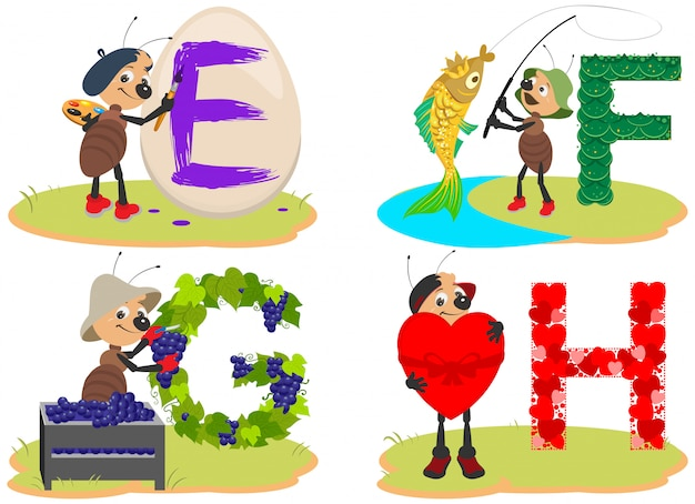 Английский детский алфавит, яйцо, рыба, виноград, сердечко, забавный милый муравей, насекомое помогает выучить английские буквы