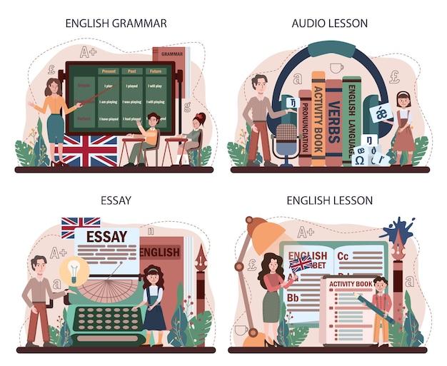 英語クラスのコンセプトセット。外国語の勉強。フラットベクトルイラスト