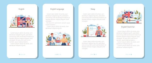 英語クラスのモバイルアプリケーションバナーセット。フラットベクトルイラスト