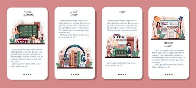 英語クラスのモバイルアプリケーションバナーセット。学校で外国語を勉強します。文法またはオーディオレッスン。グローバルコミュニケーションのアイデア。外国語の勉強。フラットベクトル図