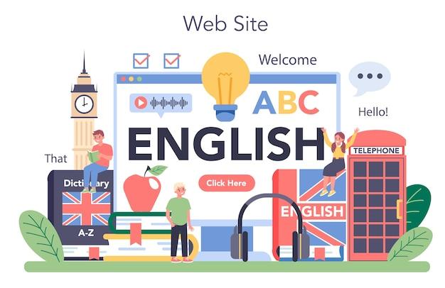 英語クラスのオンラインサービスまたはプラットフォームのイラスト