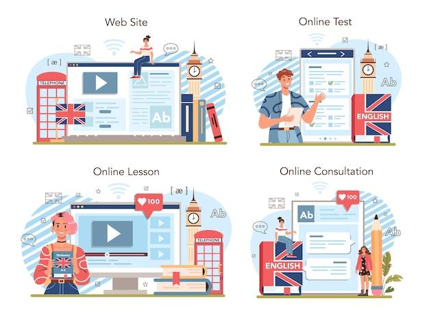 英語クラスのオンラインサービスまたはプラットフォームセット。フラットベクトルイラスト