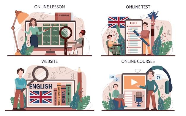 英語クラスのオンラインサービスまたはプラットフォームセット。学校で外国語を勉強します。文法またはオーディオレッスン。グローバルコミュニケーションのアイデア。オンラインレッスン、テスト、コース、ウェブサイト。フラットベクトル図