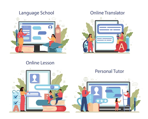 英語クラスのオンラインサービスまたはプラットフォームセット。学校や大学で外国語を勉強しましょう。グローバルコミュニケーションのアイデア。オンラインスクール、家庭教師、レッスン、翻訳者。