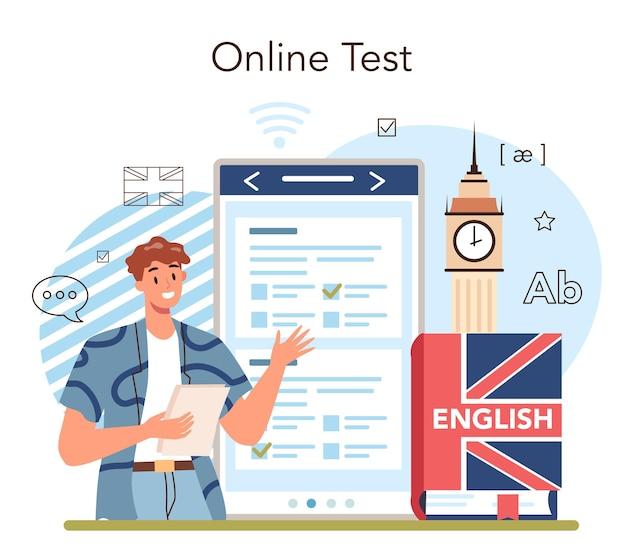 英語クラスのオンラインサービスまたはプラットフォーム。学校で外国語を勉強します。外国語の語彙や文法を勉強しています。オンラインテスト。フラットベクトルイラスト