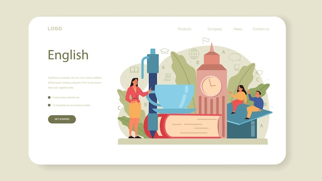 English class web banner or landing page