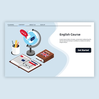English course landing page in isometric style