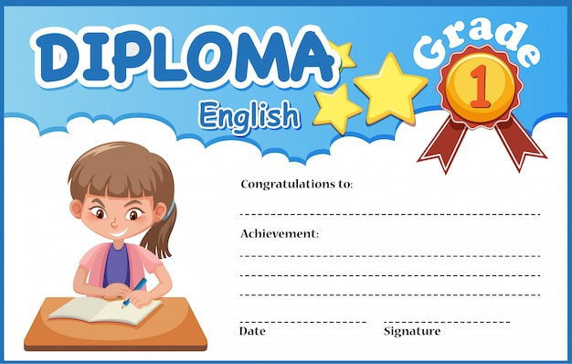 English diploma certificate template
