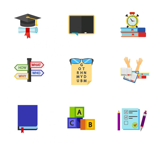 English exam icon set