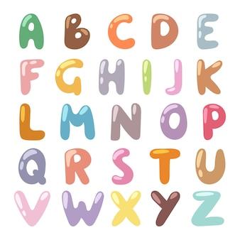 English funny cartoon alphabet illustration.