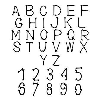 Английский хэллоуин буквы цифры черные кости шрифт