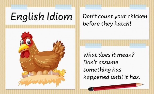 English idiom don't count your chicken before they hatch template