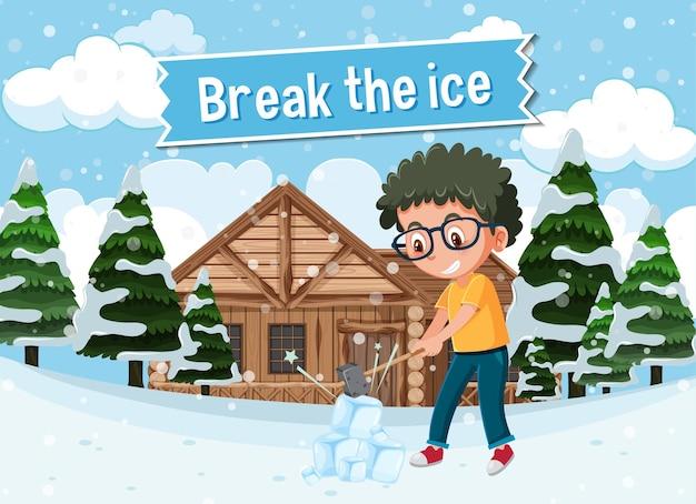 English idiom with picture description for break the ice