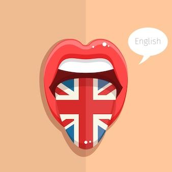 英語の概念英語の舌は、英国の女性の顔の旗と口を開けるフラットなデザインのイラスト
