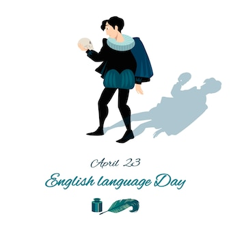 English language day with hamlet and skull.