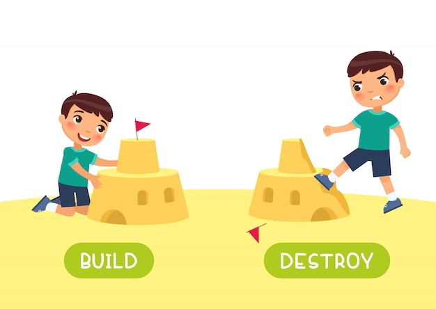 English language educational flash card vector template. word card with opposites. antonyms concept, build and destroy. boy constructing and ruining sand castle flat illustration with typography