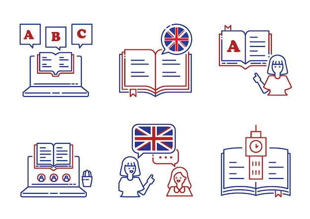 English language learning line icon design with book,alphabet,learning and teaching with teacher
