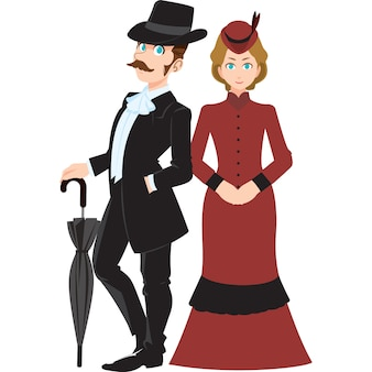 English man and woman in the traditional clothing isolated on white background.