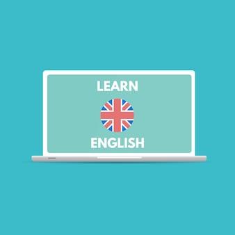 Английский онлайн мобильный изучать концепцию, обучение приложение. иллюстрация