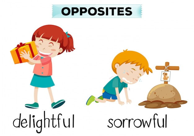 English opposite word of delightful and sorrowful