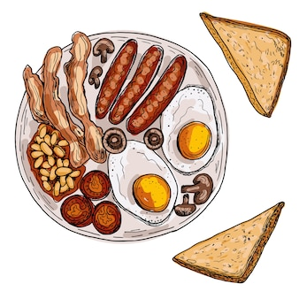 イングリッシュブレックファーストまたはアイリッシュブレックファーストの目玉焼き、ソーセージ、ベーコン、豆、トースト。手描きイラスト。孤立