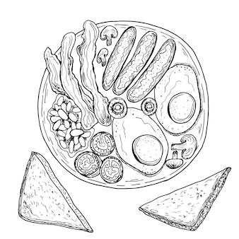 イングリッシュブレックファーストまたはアイリッシュブレックファーストの目玉焼き、ソーセージ、ベーコン、豆、トースト。手描きイラスト。モノクロの黒と白のインクスケッチ。線画。孤立