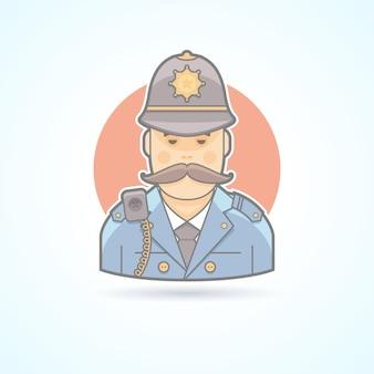 Английский полицейский, значок британского полицейского. аватар и иллюстрация человека. цветной очерченный стиль.