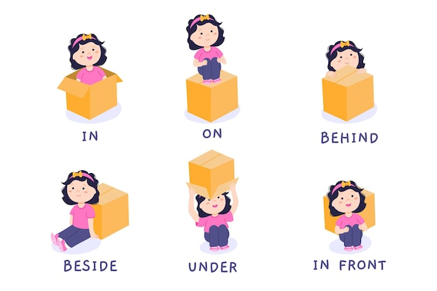 English preposition with cute girl