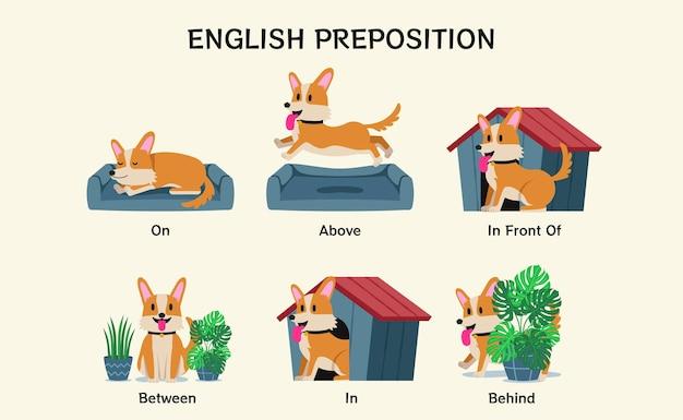 Английские предлоги. учебный визуальный материал для детей, изучающих язык. симпатичная собака корги на, сверху, спереди, между, сзади, сзади. иностранный язык для детской иллюстрации