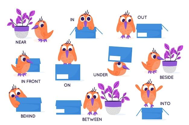 Английские предлоги с птицей