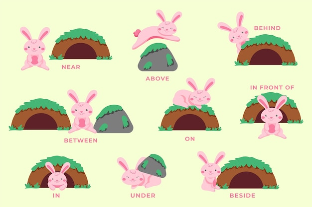 English prepositions with bunny illustrated