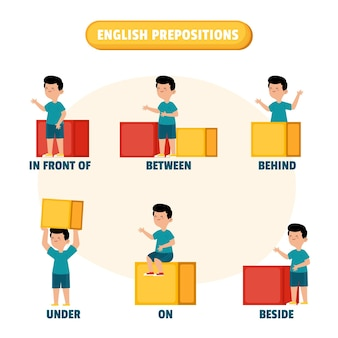 English prepositions with little boy