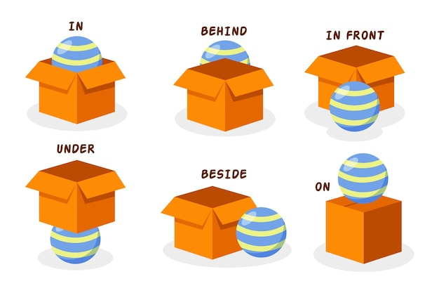 English prepositions with striped ball