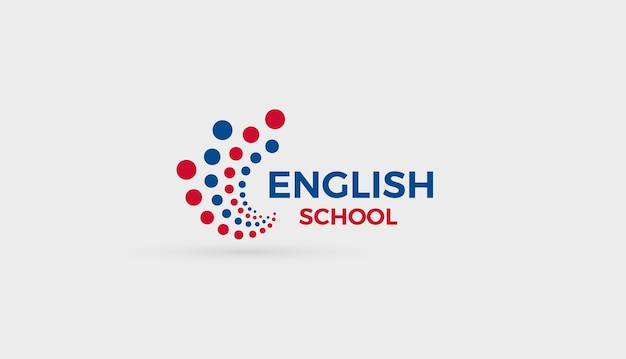 English school logo concept abstract bubbles dots logotype for education english language learning
