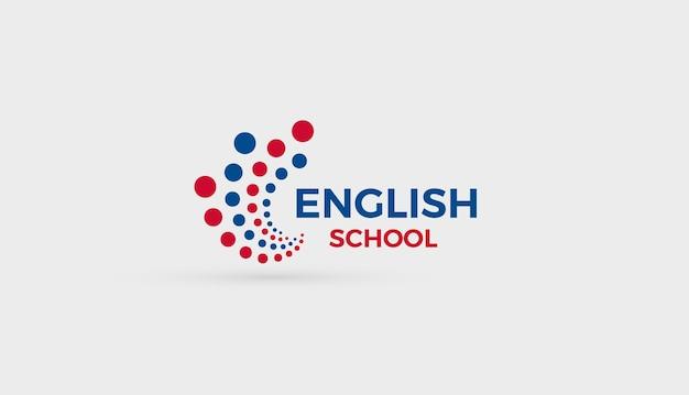 英語学校のロゴの概念抽象的な泡ドットロゴタイプ教育英語学習