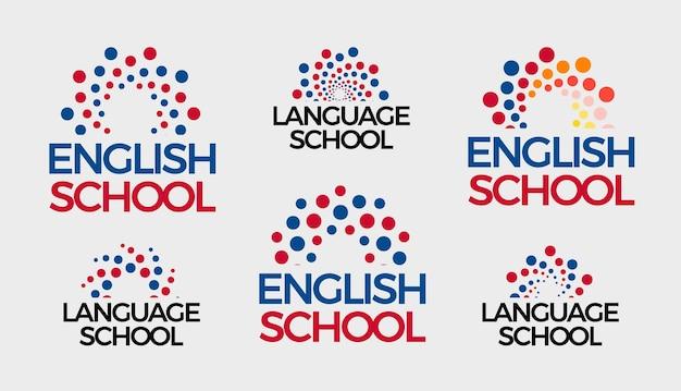 영어 학교 로고 세트 추상 거품 라운드 로고 타입 컬렉션 점 태양 일출 지식 기호