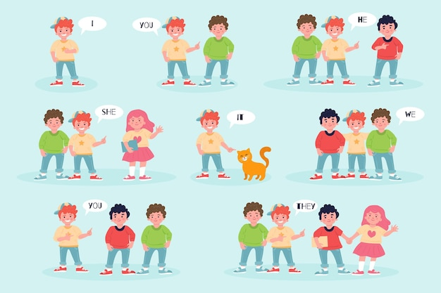 English subject pronouns with people