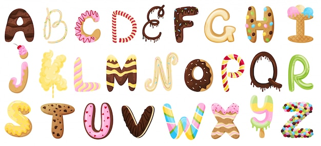 English sweet alphabet.  illustration on white background.