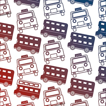 English taxi and double decker bus pattern