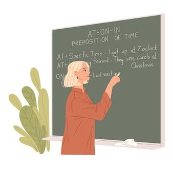 영어 교사는 칠판에 씁니다. 외국어 수업.