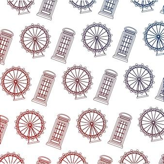 English telephone box and wheel london eye pattern