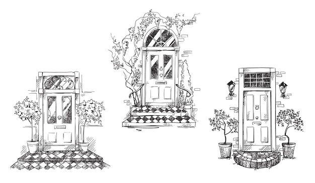 English traditional entrance doors with flower pots and lanterns, vector sketch