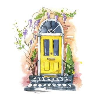 英語の伝統的な家の玄関ドア、水彩画